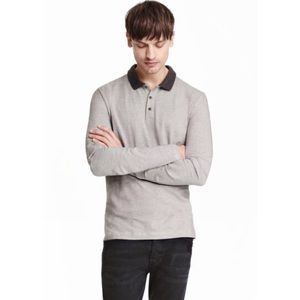 H&M STRETCH LONG SLEEVE COLLARED SHIRT